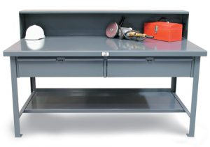 Industrial Shop Table 2 Drawers